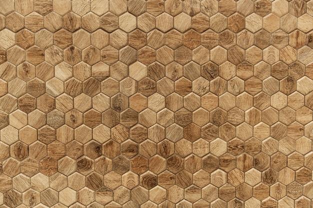Hexágono com textura de madeira texturizada de fundo