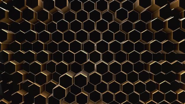 Hexágono de campo abstrato preto-ouro
