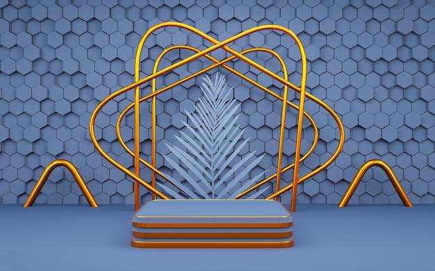 Hexágono de luxo forma geométrica pódio de fundo azul e dourado com folha de palmeira para apresentação de produto renderização 3d