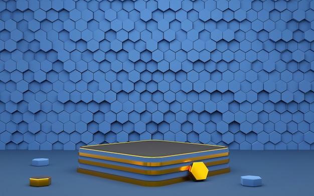 Hexágono de luxo forma geométrica pódio de fundo azul e dourado para apresentação de produto renderização em 3d