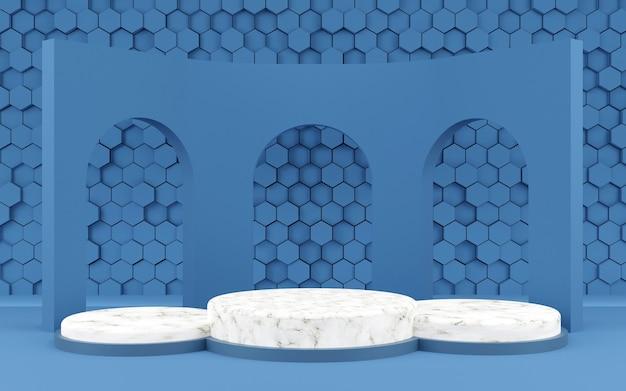 Hexágono de luxo forma geométrica pódio de fundo textura azul e mármore para apresentação de produto renderização 3d