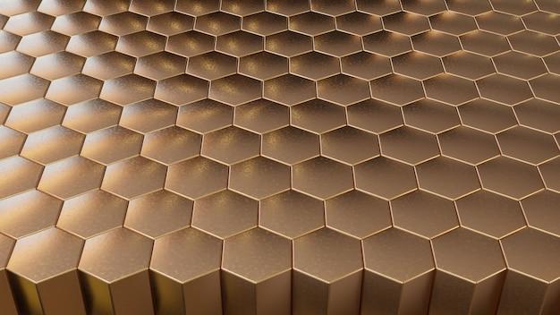 Hexágono de ouro 3d para fundo moderno