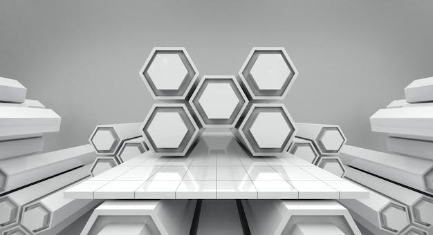 Hexágono futurista branco e fundo de palco vazio, renderização em 3d