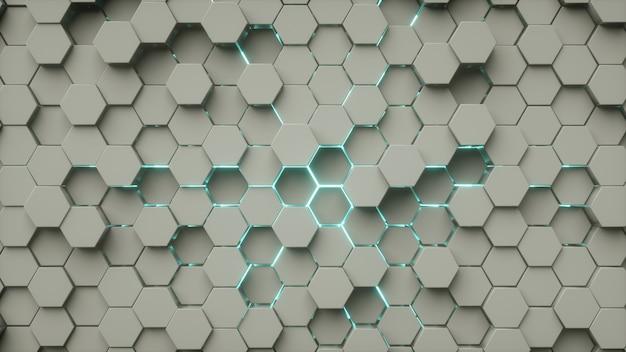 Hexágono padrão abstrato cinza azul neon luz