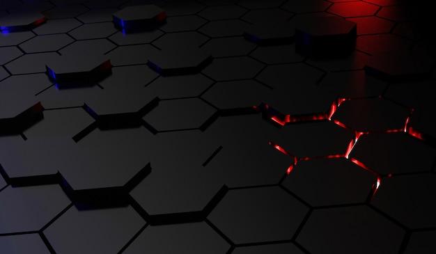 Hexágonos cinza e laranja fundo moderno 3d render