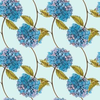 Hidrungea em aquarela. padrões sem emenda. jogo da flor selvagem isolado no branco. ilustração em aquarela botânica, buquê de hidrungea, flores rústicas.