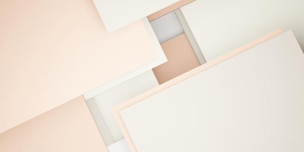 Hierarquia de geometria pastel de fundo de ladrilho de quadrados abstratos ilustração 3d