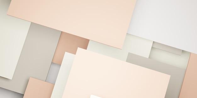 Hierarquia de geometria pastel de fundo de mosaico de quadrados abstratos ilustração 3d