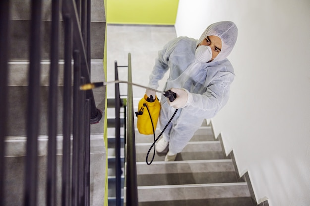 Higienização de superfícies internas. limpeza e desinfecção no interior de edifícios