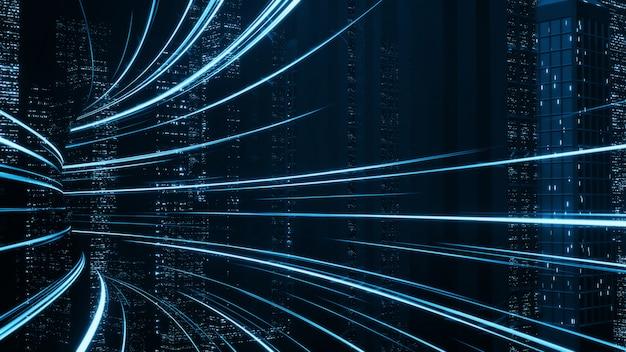 Hiper loop com desfoque de luz das luzes dos edifícios na mega cidade à noite.