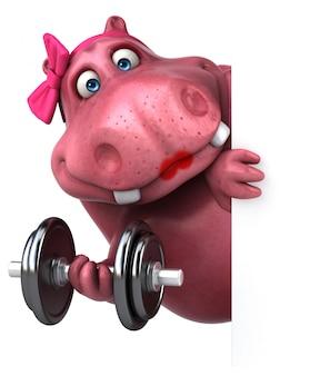 Hipopótamo-de-rosa - ilustração 3d