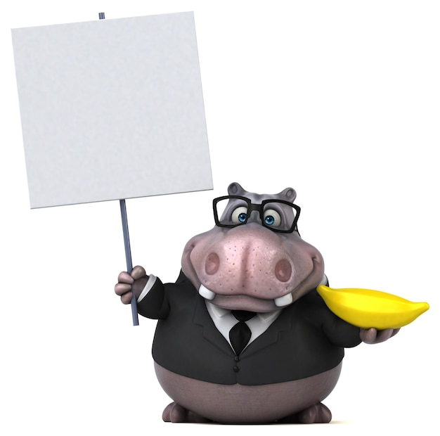 Hipopótamo divertido - ilustração 3d