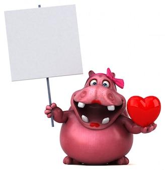 Hipopótamo rosa com forma de coração e branches