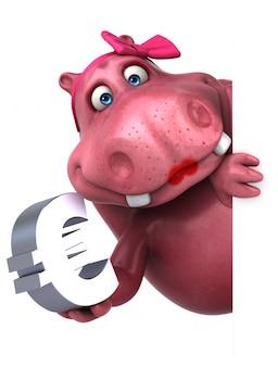 Hipopótamo rosa com sinal euro