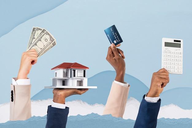 Hipotecas, empréstimos, financiamentos imobiliários, mídia remixada