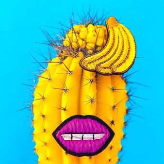 Hipster de cacto tropical. arte criativa mínima. conceito de amante de cactos