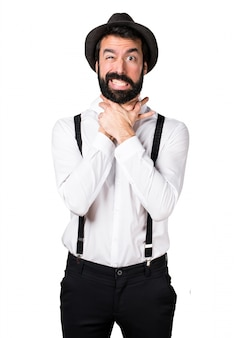 Hipster homem com barba afogando-se