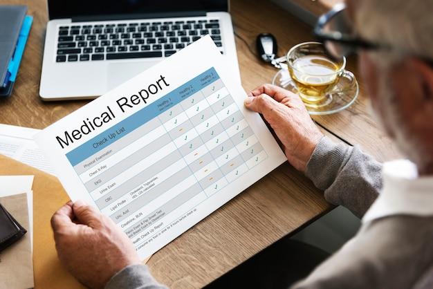 Histórico de relatórios de exames médicos