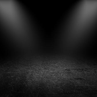 Holofotes brilhando em um interior do grunge