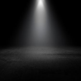 Holofotes brilhando em um interior grunge