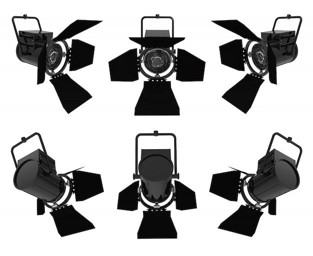 Holofotes em fundo branco