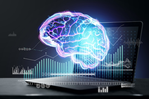 Holograma abstrato do cérebro com informações analíticas sobre o fundo de um laptop. conceito de inovação e brainstorming, tecnologia, futuro. dupla exposição.