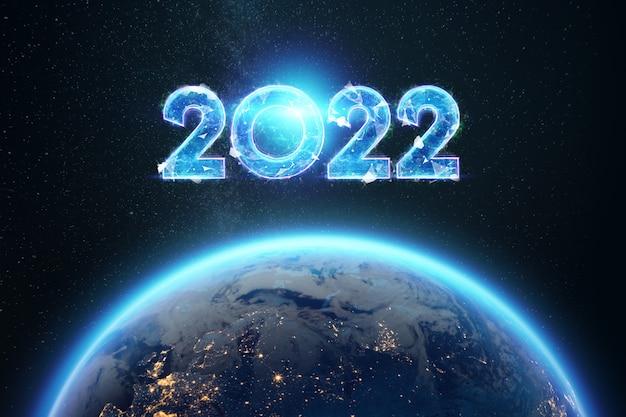 Holograma azul dos números 2022 sobre o planeta terra. feliz ano novo. design moderno, modelo, cabeçalho para o site, cartaz, cartão de ano novo, folheto. ilustração 3d, renderização em 3d.