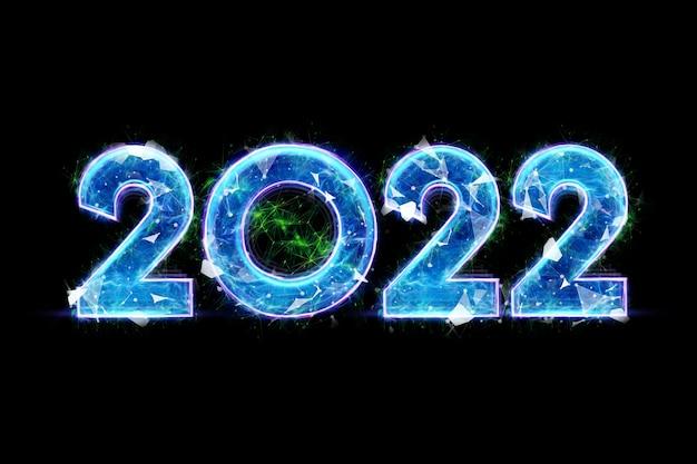 Holograma azul número 2022 em um fundo escuro. feliz ano novo. design moderno, modelo, cabeçalho para o site, cartaz, cartão de ano novo, folheto. ilustração 3d, renderização em 3d.