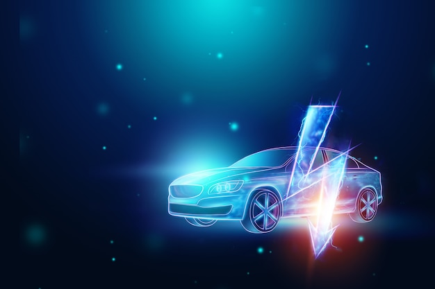 Holograma de carro elétrico, sinal de electricidade.