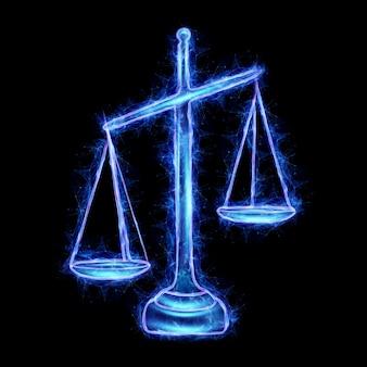 Holograma de escalas de justiça isolado em fundo preto. conceito de julgamento, tribunal, judiciário. 3d render, ilustração 3d.