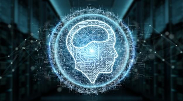 Holograma de ícone de inteligência artificial digital