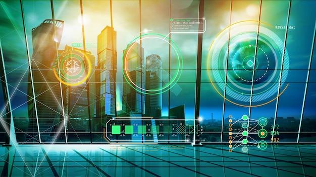 Holograma de interface do hud em um escritório vazio com vista de arranha-céus.