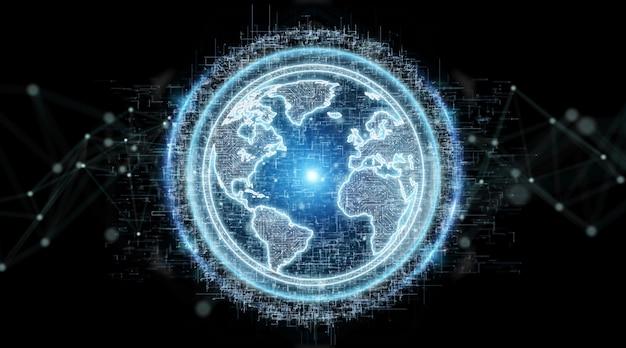 Holograma de rede do globo com o mapa da américa usa