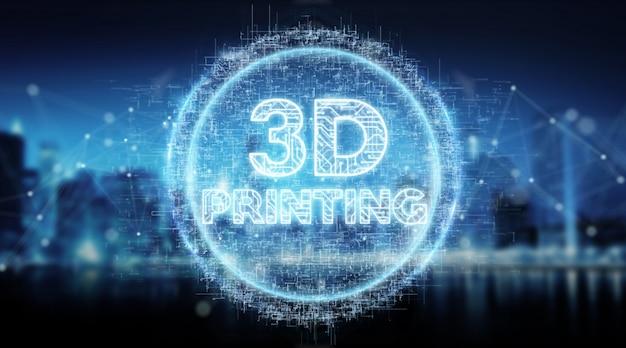 Holograma de texto digital de impressão 3d