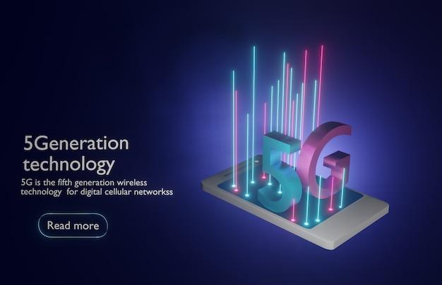 Holograma digital da rede 5g e banner para smartphone. renderização 3d