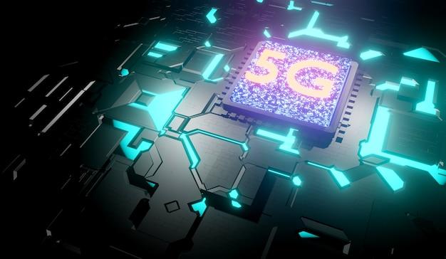 Holograma digital de rede 5g e fundo de internet. renderização 3d