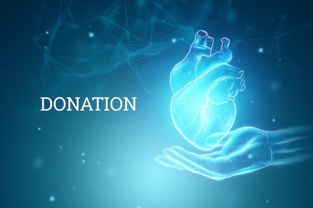 Holograma do coração acima da palma. conceito de tecnologia, doação, diagnóstico online. renderização 3d, ilustração 3d.