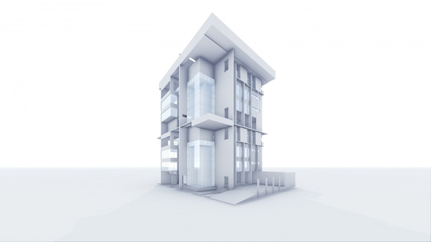 Home arquitetônico de perspectiva 3d