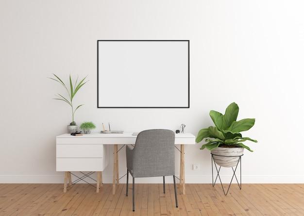 Home office em interior branco e moldura