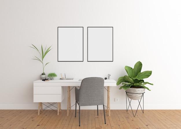 Home office no interior branco, quadros duplos e quadro