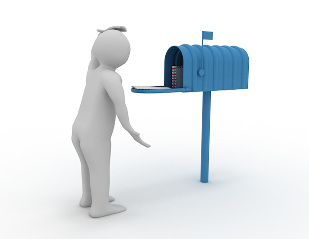 Homem 3d com caixa de correio. concpet de correio. ilustração renderizada
