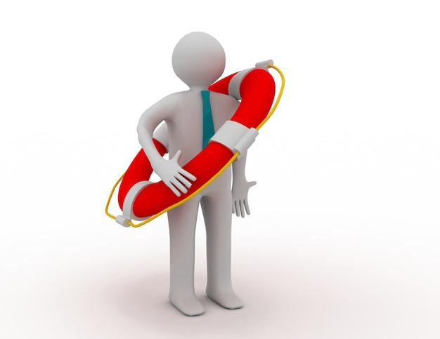 Homem 3d com colete salva-vidas
