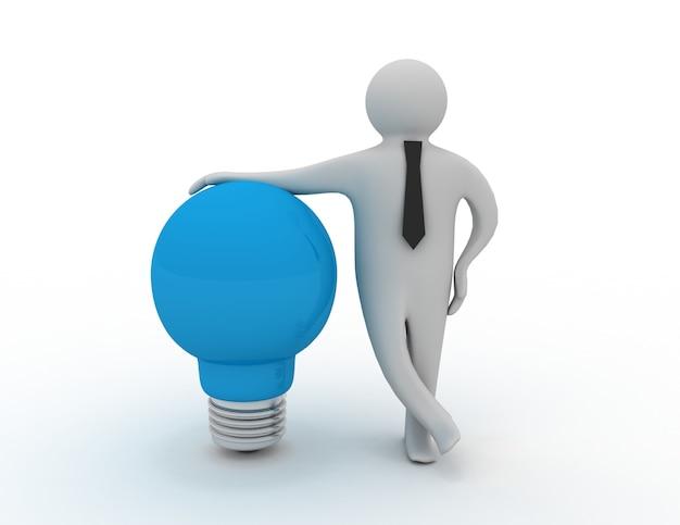 Homem 3d com lâmpada