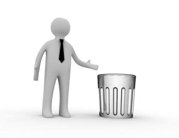 Homem 3d com lata de lixo