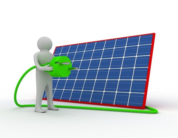 Homem 3d com painel solar