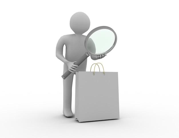Homem 3d com sacola de compras com uma lupa. ilustração renderizada 3d