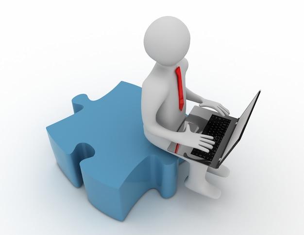 Homem 3d com um laptop e peças do quebra-cabeça.