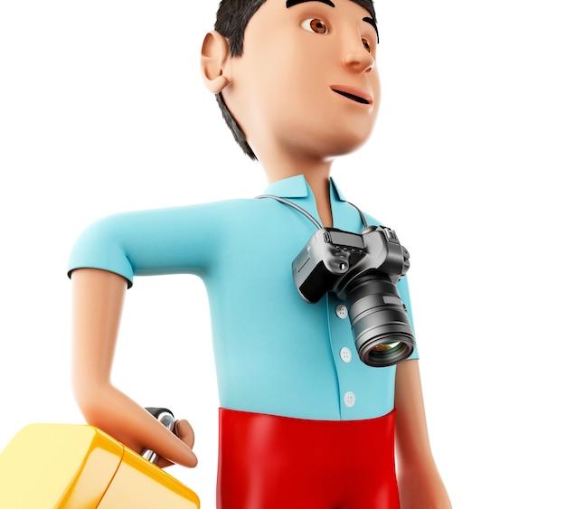 Homem 3d com uma mala e uma câmera.