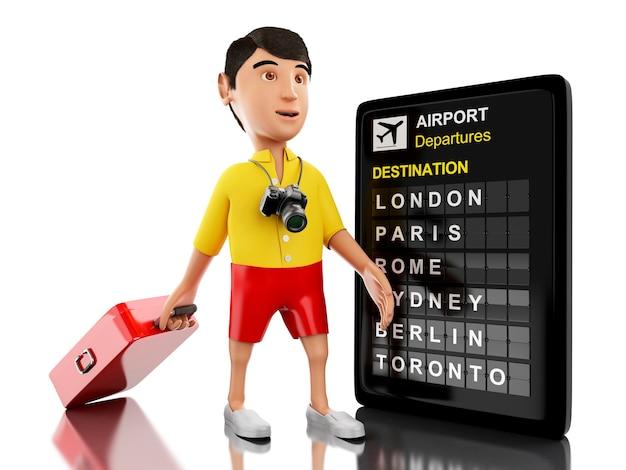 Homem 3d com uma placa da mala de viagem, da câmera e do aeroporto.
