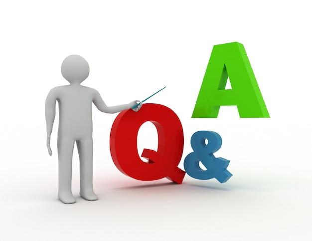 Homem 3d em pé e apresentando perguntas e respostas com perguntas e respostas